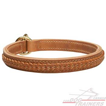 Leather Choke Dog Collar with Stitched Braids