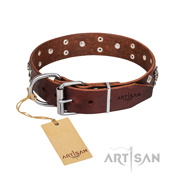 Durable leather dog collar with non-rusting elements