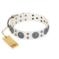 """Blue Sapphire"" Designer FDT Artisan White Leather dog Collar with Round Plates and Square Studs"