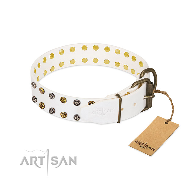 Full grain genuine leather collar with designer decorations for your dog