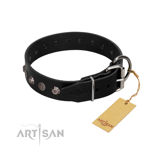 Reliable fittings on genuine leather dog collar for daily use