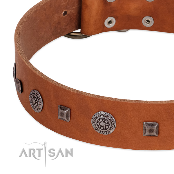 Easy wearing natural leather collar with adornments for your pet