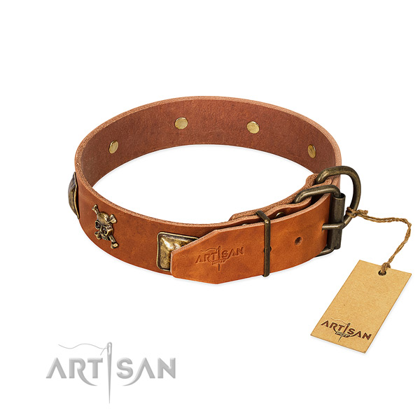 Inimitable full grain genuine leather dog collar with strong embellishments