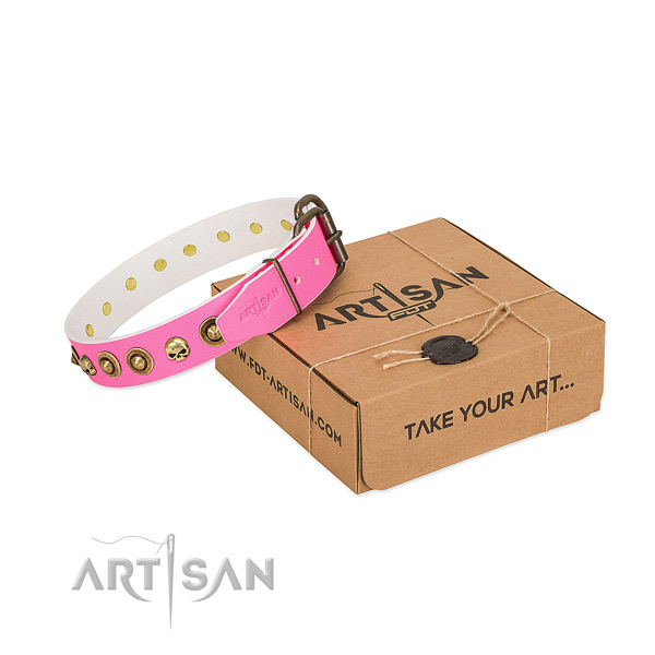 Full grain genuine leather collar with exceptional embellishments for your doggie