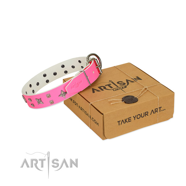 Designer adornments on natural leather collar for your four-legged friend
