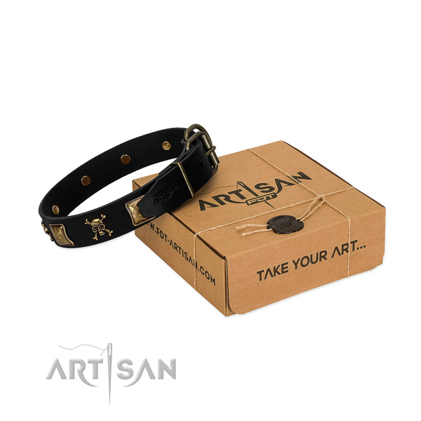 Soft to touch full grain natural leather dog collar with stylish embellishments