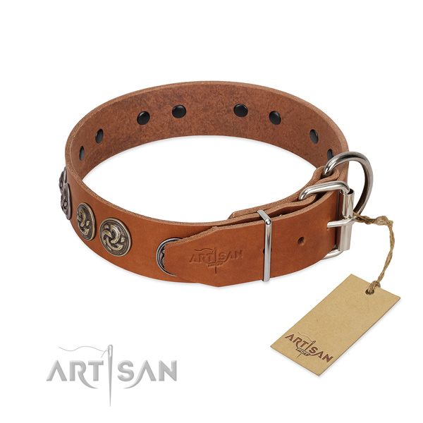 Corrosion resistant hardware on awesome full grain leather dog collar