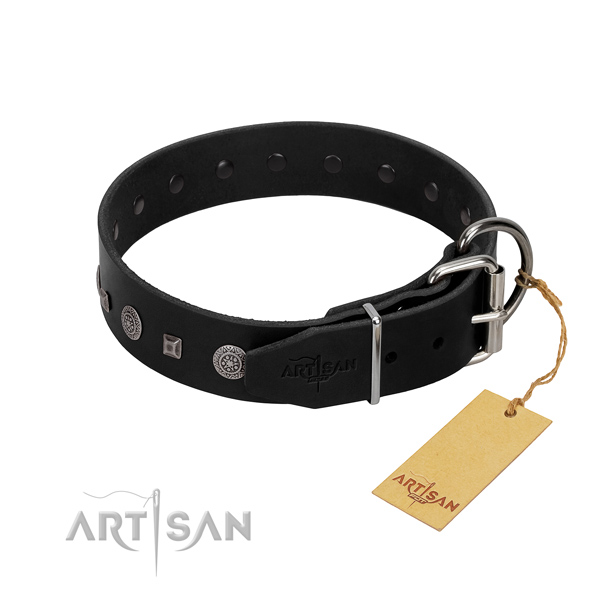 Corrosion resistant hardware on adorned leather dog collar