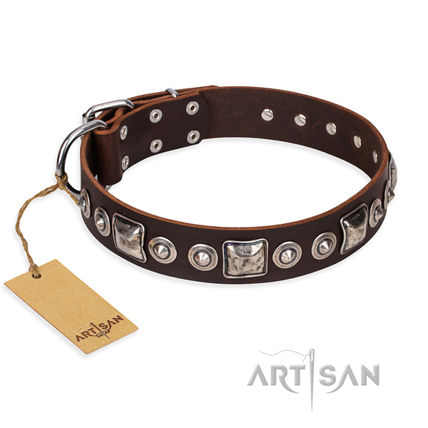 Leather dog collar made of soft material with strong buckle