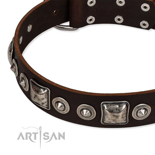 Leather dog collar made of gentle to touch material with adornments