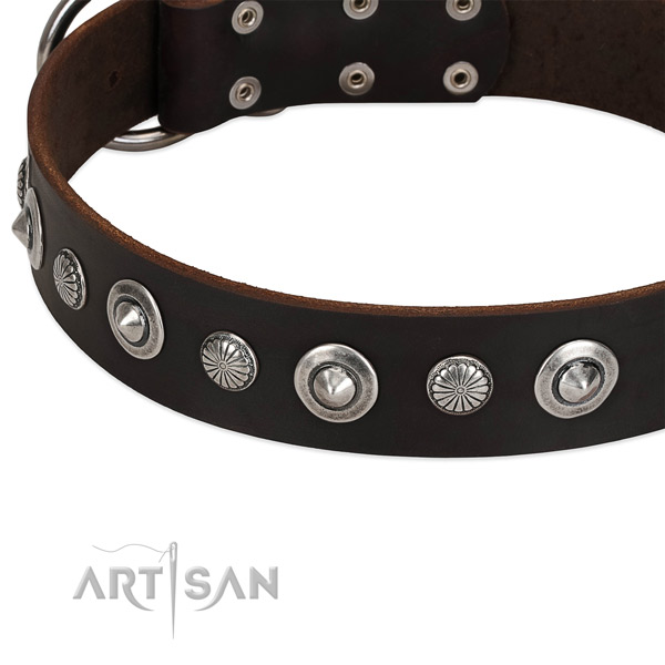 Trendy studded dog collar of best quality genuine leather
