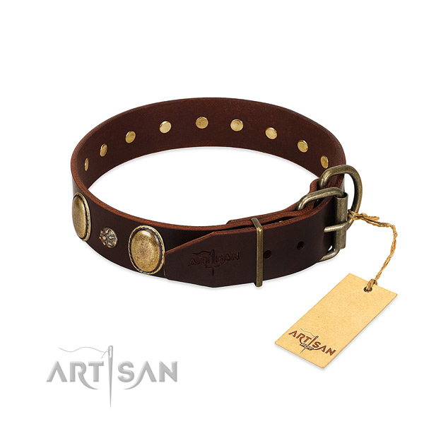 Everyday use high quality full grain natural leather dog collar
