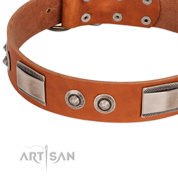 Fine quality natural leather collar with studs for your dog