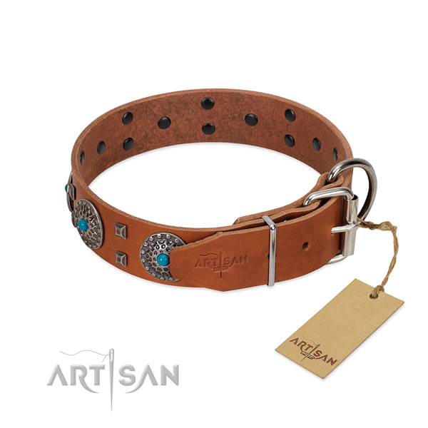 Soft to touch natural leather dog collar with decorations for everyday walking