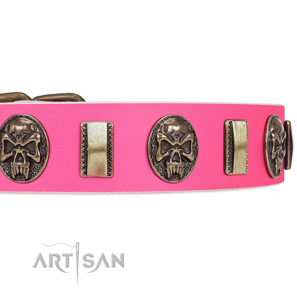 Corrosion proof studs on natural genuine leather dog collar for your dog