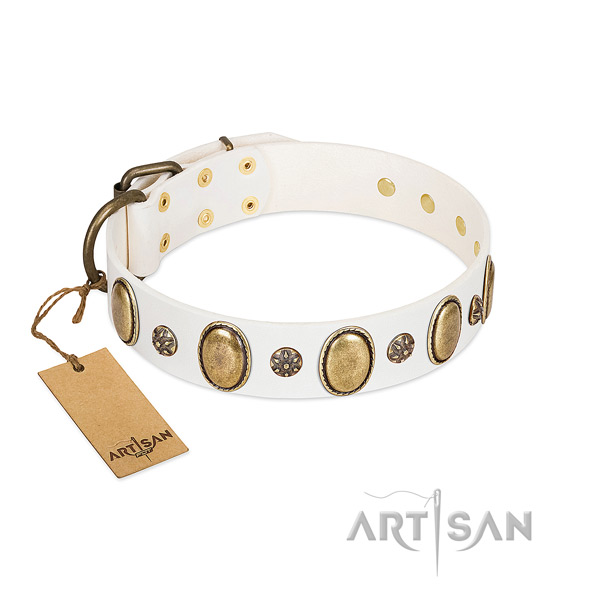 Comfy wearing soft to touch leather dog collar with embellishments