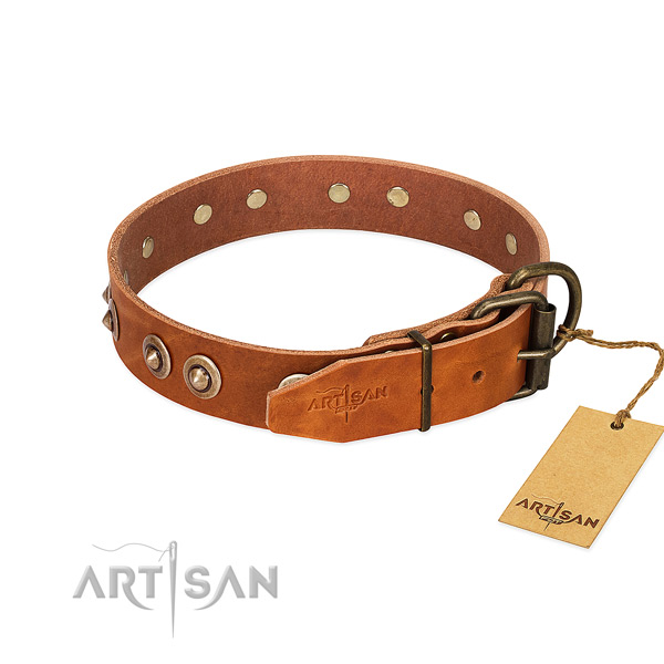 Corrosion resistant studs on genuine leather dog collar for your four-legged friend