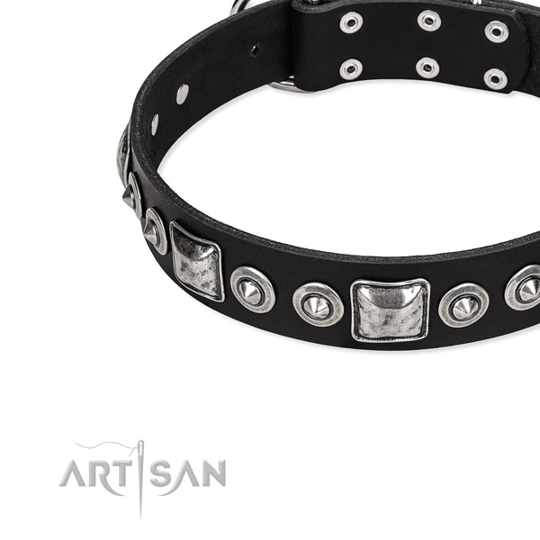 Full grain leather dog collar made of high quality material with adornments
