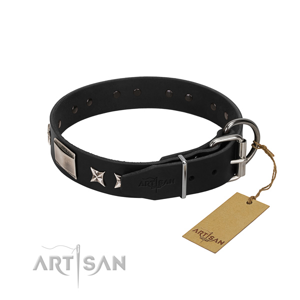 Quality genuine leather dog collar with durable traditional buckle