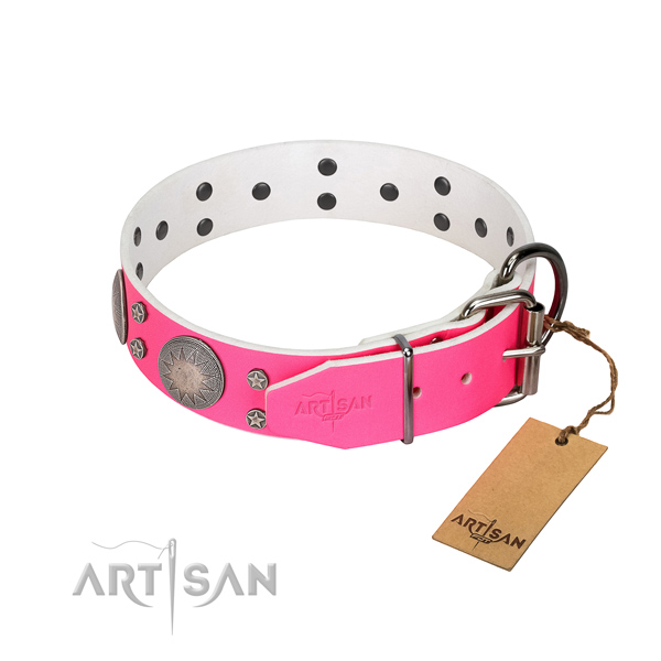 Top rate full grain genuine leather dog collar with adornments for your lovely four-legged friend