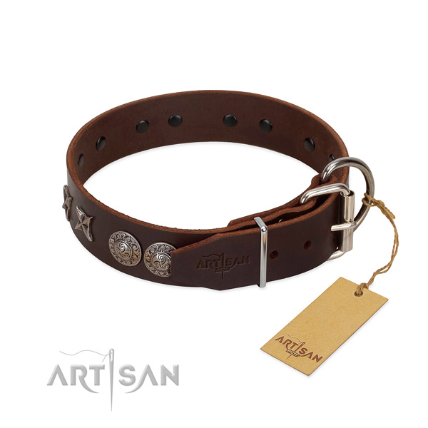 Easy wearing dog collar of leather with stylish studs