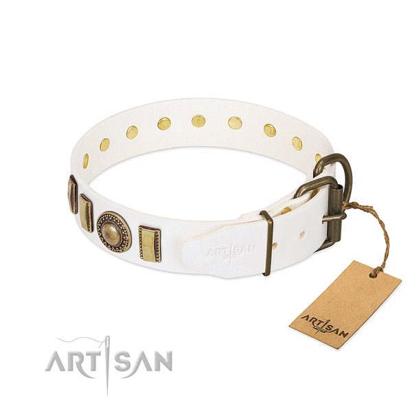 Easy to adjust full grain genuine leather dog collar with reliable D-ring