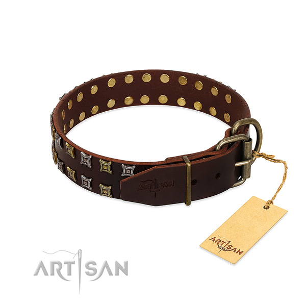 Strong full grain leather dog collar crafted for your canine