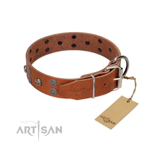 Flexible natural leather dog collar with decorations for comfortable wearing