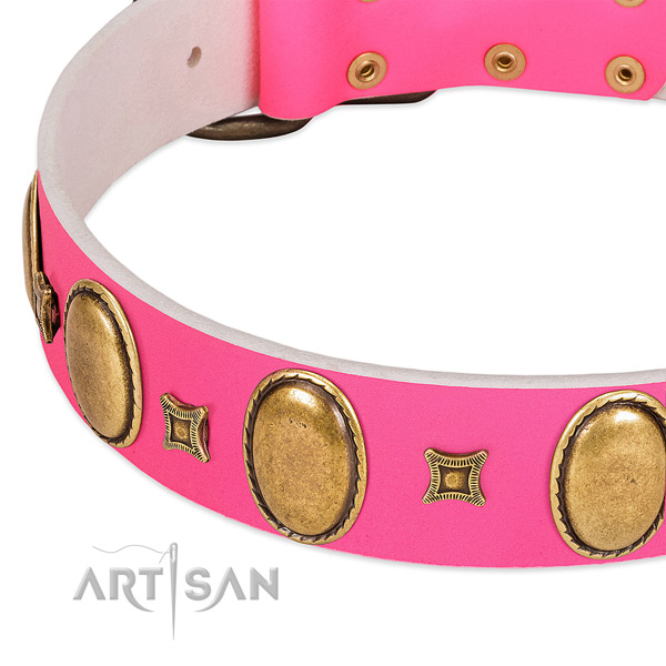 Flexible full grain genuine leather dog collar with adornments for daily use