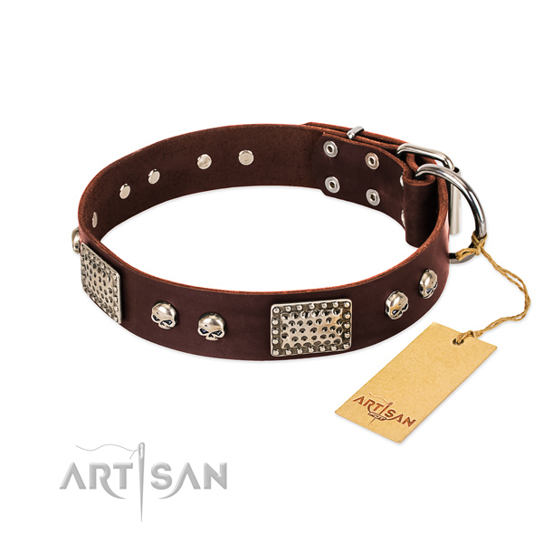 Easy wearing full grain genuine leather dog collar for daily walking your four-legged friend