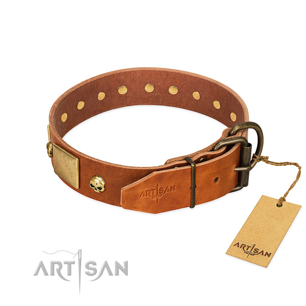 Soft genuine leather dog collar with rust-proof decorations