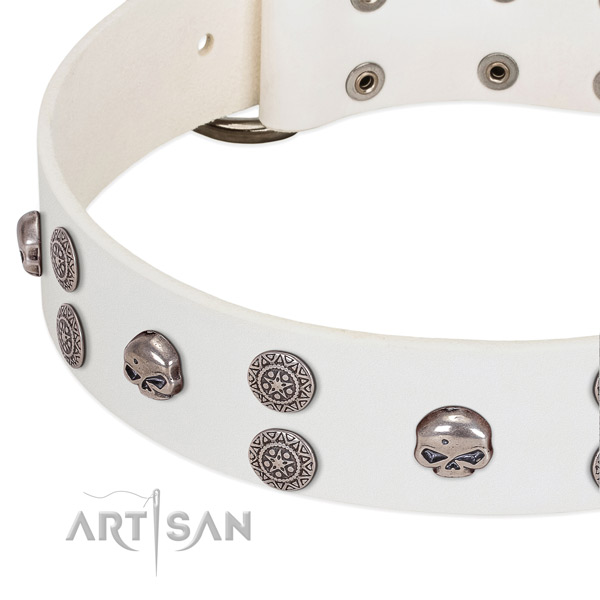 Flexible genuine leather dog collar with designer adornments
