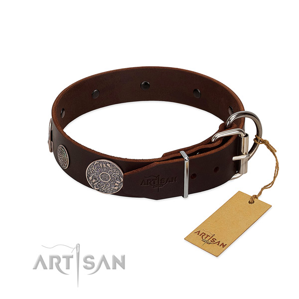 Exquisite full grain genuine leather collar for your lovely four-legged friend