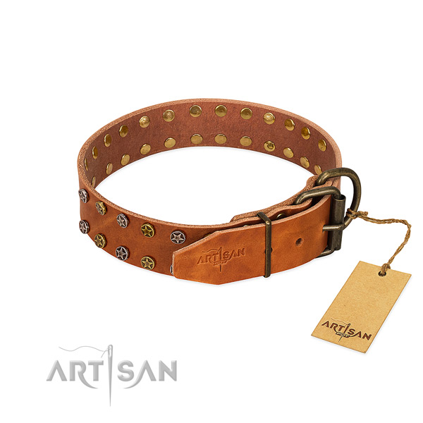 Easy wearing natural leather dog collar with significant adornments