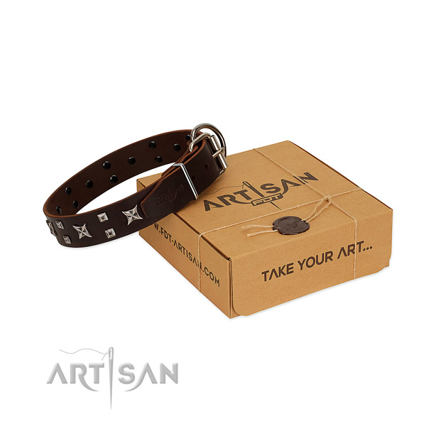 Stylish adorned natural leather dog collar of top rate material