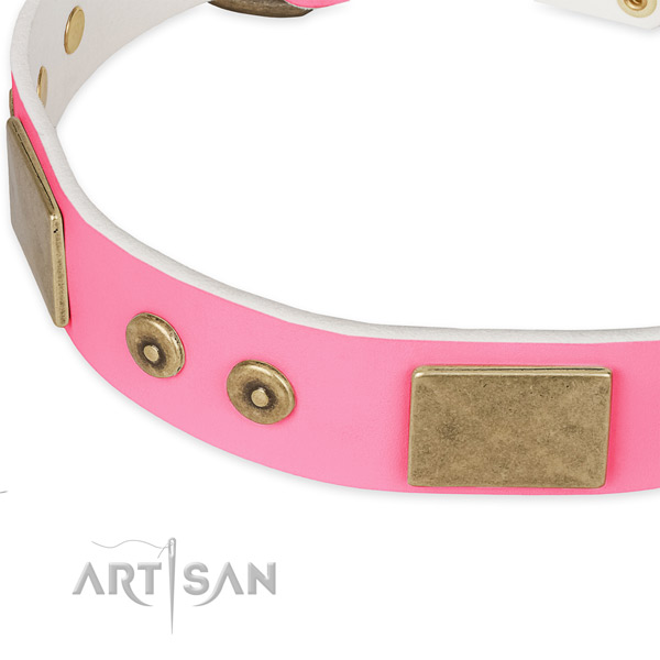 Genuine leather dog collar with adornments for comfy wearing