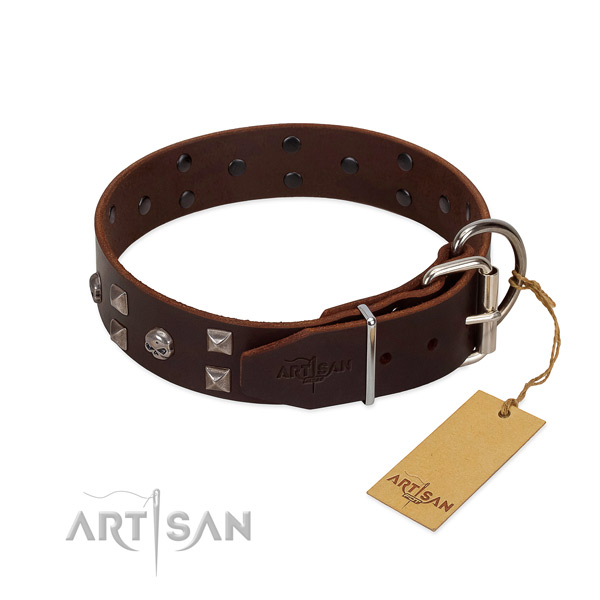Adjustable natural leather dog collar with rust resistant hardware