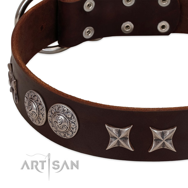 Perfect fit full grain natural leather dog collar with strong D-ring
