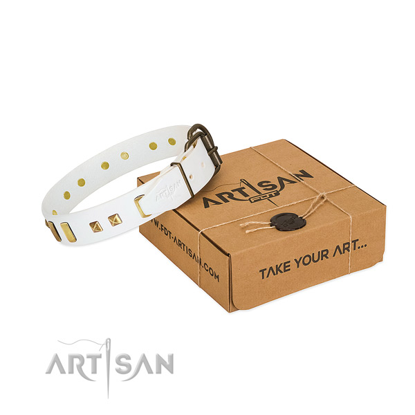 Soft to touch genuine leather dog collar with decorations for everyday use