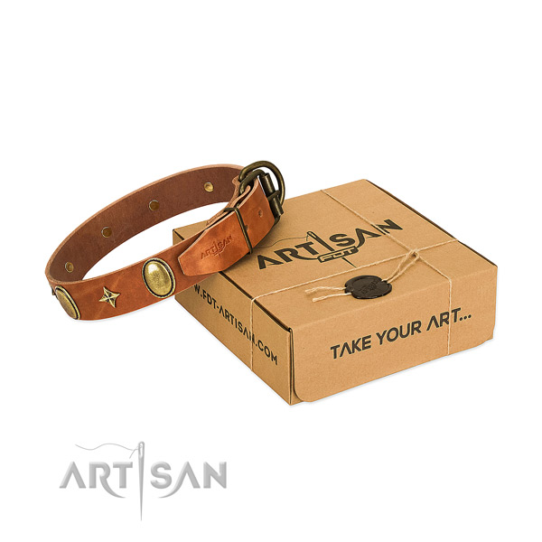 Quality full grain natural leather dog collar with designer decorations