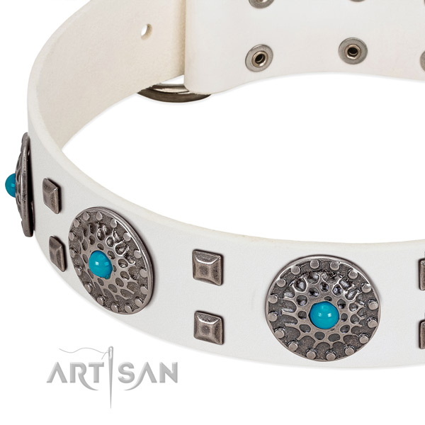 Soft to touch full grain genuine leather dog collar with unique studs