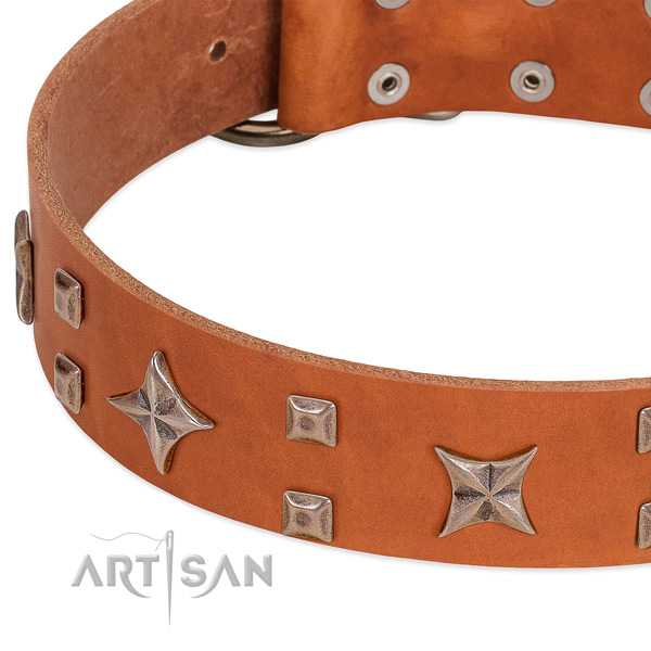 Corrosion proof D-ring on natural genuine leather collar for walking your four-legged friend