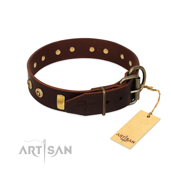 Inimitable adorned leather dog collar of flexible material