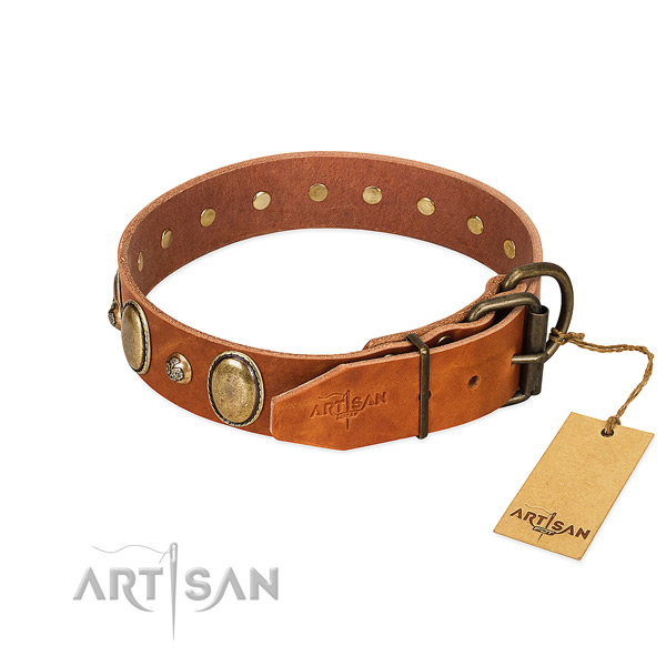Top notch genuine leather dog collar with rust resistant traditional buckle
