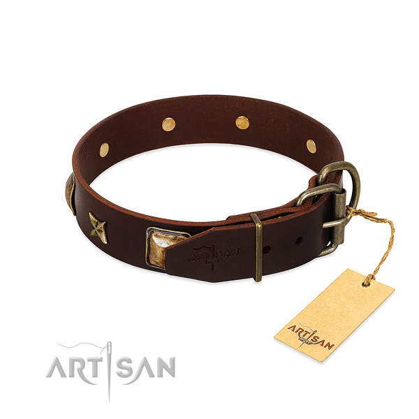 Full grain genuine leather dog collar with durable traditional buckle and adornments