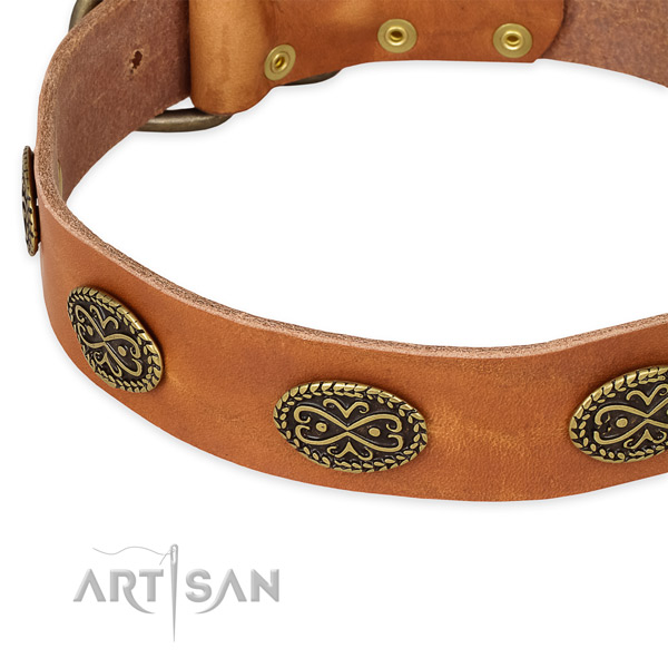 Unique natural genuine leather collar for your attractive doggie