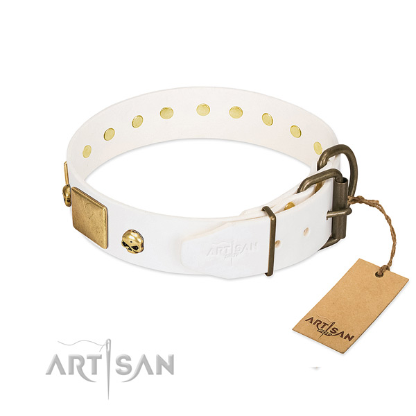 Soft to touch leather collar handcrafted for your canine