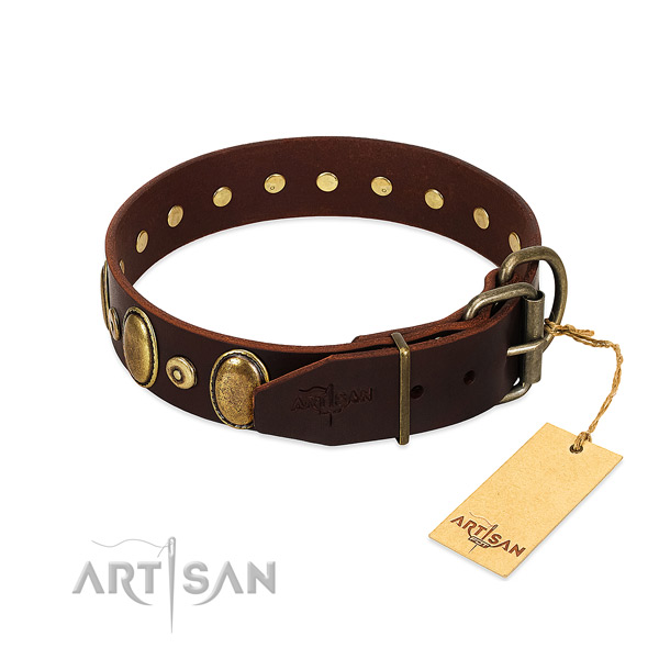 Full grain natural leather dog collar with corrosion proof decorations