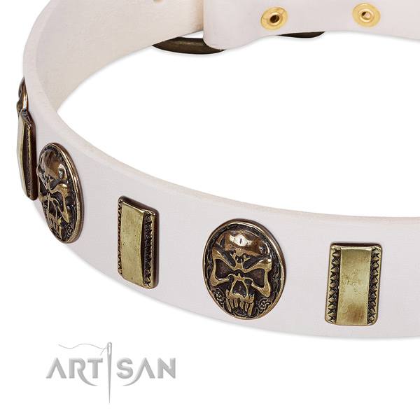 Corrosion resistant embellishments on full grain genuine leather dog collar for your four-legged friend
