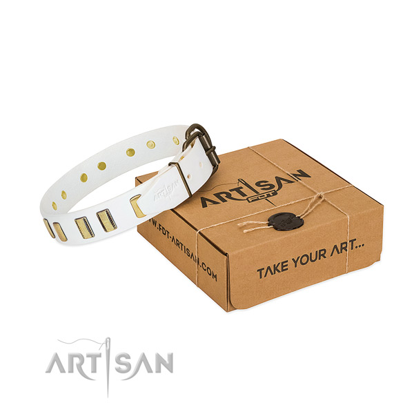 Best quality full grain genuine leather dog collar with embellishments for daily walking
